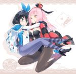 2girls adapted_costume alice_(wonderland) alice_(wonderland)_(cosplay) alice_in_wonderland animal_ears black_footwear black_hair blue_cape blue_eyes breasts bunny_girl bunnysuit cape card carrying club_(shape) commentary_request cosplay crown detached_sleeves diamond_(shape) grey_legwear hairband heart high_heels highres homura_subaru leotard long_hair medium_breasts mini_crown multiple_girls nail_polish orange_eyes pantyhose pink_hair playboy_bunny_leotard playing_card playing_card_theme princess_carry queen_of_hearts queen_of_hearts_(cosplay) rabbit_ears red_footwear short_hair shrug_(clothing) small_breasts spade_(shape) strapless strapless_leotard two-tone_leotard yuri