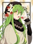 :o black_headwear earrings elf flower food fruit green_hair hair_flower hair_ornament highres holding holding_food holding_fruit jewelry l_(matador) long_hair necklace original pointy_ears ring simple_background solo strawberry sweater upper_body very_long_hair yellow_eyes