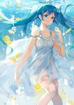 1girl absurdres air_bubble bangs bare_arms bare_shoulders blue_eyes blue_hair breasts bubble closed_mouth collarbone commentary dress english_commentary eyebrows_visible_through_hair food frilled_dress frills fruit hair_ornament hairclip hand_up hatsune_miku highres lemon lemon_slice long_hair looking_at_viewer see-through sleeveless sleeveless_dress small_breasts smile solo twintails underwater very_long_hair vocaloid water white_dress yayako_(804907150)