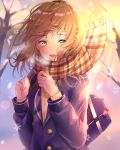 1girl arms_up bag bare_tree blazer blue_eyes blue_jacket blurry blurry_background braid breath brown_hair carrying_over_shoulder charm_(object) clenched_hands commentary_request day depth_of_field gradient_sky hair_blowing highres hono75874007 jacket lens_flare looking_at_viewer open_mouth original outdoors plaid plaid_scarf scarf school_bag school_uniform short_hair sky snow snowflakes solo sunset sweater tree twin_braids upper_body wind wind_lift