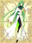 androgynous brown_footwear elf full_body green_eyes green_hair hair_over_one_eye kerberos_blade l_(matador) long_hair looking_at_viewer official_art pointy_ears robe simple_background sleeves_past_fingers sleeves_past_wrists smile solo standing very_long_hair white_robe wide_sleeves