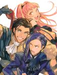 1girl 2boys arm_around_shoulder ascot bangs beard black_gloves breasts brown_hair claude_von_riegan coat detached_sleeves earrings facial_hair fire_emblem fire_emblem:_three_houses gloves green_eyes grin hair_slicked_back hilda_valentine_goneril holding_hands hoop_earrings jewelry long_hair long_sleeves looking_at_another looking_at_viewer looking_back lorenz_hellman_gloucester medium_breasts medium_hair multiple_boys open_mouth pink_eyes pink_hair purple_hair red_gloves shirt short_hair sideburns simple_background smile sweatdrop swept_bangs teeth ugonba_(howatoro) upper_body violet_eyes white_background white_neckwear