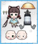 1girl :3 :d ;d animal_ears azur_lane bangs blue_border blue_shirt blunt_bangs blush blush_stickers border brown_hair candy cat_ears character_doll character_name chibi commentary_request copyright_name eyebrows_behind_hair fangs faux_figurine figure food hat hat_removed headwear_removed kindergarten_uniform kurono lifebuoy lollipop low_twintails mutsuki_(azur_lane) mutsuki_face neckerchief nendoroid one_eye_closed open_mouth parody rigging sailor_collar school_hat shirt short_hair sidelocks skirt smile tail torpedo_tubes toy twintails twitter_username yellow_neckwear yellow_skirt