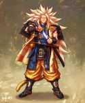 1boy aqua_eyes armor artist_name baggy_pants blonde_hair commentary dragon_ball dragon_ball_(object) dragon_ball_z guillem_dauden highres japanese_armor long_hair looking_at_viewer pants samurai sandals serious sheath solo son_gokuu spiky_hair super_saiyan_3 sword unsheathing very_long_hair weapon