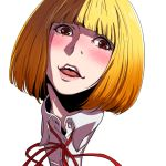 1girl bangs blonde_hair blunt_bangs blush brown_eyes commentary_request looking_at_viewer midorikawa_hana open_mouth prison_school short_hair simple_background smile solo white_background yazwo