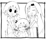 3girls :d buruma closed_eyes commentary_request food frame goshiki_agiri greyscale gym_uniform hair_ribbon holding kill_me_baby long_hair monochrome multiple_girls open_mouth oribe_yasuna pants ribbon sausage shirt short_hair short_sleeves simple_background smile sonya_(kill_me_baby) standing track_pants translation_request twintails white_background zubatto_(makoto)