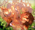 1boy 1girl artemis_(fate/grand_order) breasts brown_hair couple fate/grand_order fate_(series) girl_on_top highres large_breasts long_hair lying on_back on_grass orion_(super_archer)_(fate) smile thick_eyebrows white_hair
