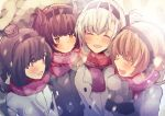 4girls :d ^_^ ^o^ akizuki_(kantai_collection) black_hair black_headband brown_hair closed_eyes edel_(edelcat) grey_coat grey_eyes hachimaki hatsuzuki_(kantai_collection) headband highres kantai_collection light_brown_hair long_sleeves mittens multiple_girls open_mouth red_scarf scarf smile snow suzutsuki_(kantai_collection) teruzuki_(kantai_collection) white_hair winter_clothes yellow_eyes
