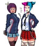 2girls :p alternate_costume alternate_hair_color arms_behind_back banchou bangs black_choker blue_hair blue_skirt blunt_bangs breasts choker dark_skin eye_(mememem) hairband han_juri jacket looking_at_viewer loose_necktie medium_breasts menat multicolored_hair multiple_girls necktie open_clothes open_jacket piercing pink_eyes pink_hair plaid plaid_skirt pleated_skirt purple_hair red_skirt skirt street_fighter street_fighter_v suspenders_hanging thigh-highs tongue tongue_out torn_clothes torn_legwear track_jacket