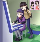 ann_momitsu arcade_cabinet coke-bottle_glasses commentary_request controller creator_connection glasses high_score_girl highres himeji_wakaba joystick one_eye_closed oono_akira oono_makoto po-chan poster_(object) pupipo! siblings sisters translation_request