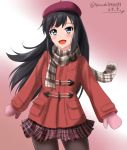 1girl alternate_costume asashio_(kantai_collection) beret black_hair blue_eyes brown_legwear coat commentary_request cowboy_shot dated gradient gradient_background hat kantai_collection long_hair looking_at_viewer mittens pantyhose pink_background pink_mittens plaid plaid_scarf plaid_skirt pleated_skirt red_coat red_headwear scarf skirt smile solo standing twitter_username winter_clothes zanntetu