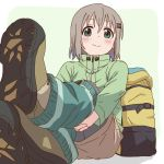 1girl backpack bag blush boots green_eyes green_jacket grey_hair hair_ornament hairclip hands_under_legs jacket layered_legwear leg_warmers looking_at_viewer pants pantyhose short_hair sitting skirt smile solo yama_no_susume yougiri yukimura_aoi