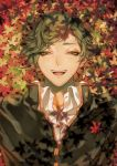 1boy :d autumn_leaves bangs buttons gakuran green_eyes green_hair half-closed_eyes happy leaf looking_at_viewer lying male_focus maple_leaf on_back on_ground open_mouth school_uniform shade smile solo swept_bangs touken_ranbu uguisumaru upper_body user_tufx3333