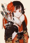 1girl 2019 bangs black_gloves black_hair bright_pupils chinese_zodiac circle fingerless_gloves flower fur_collar gloves hair_flower hair_ornament hair_stick hair_tubes haori happy_new_year japanese_clothes katana kimono ligton1225 looking_at_viewer new_year obi original red_eyes red_flower red_kimono sash sheath sheathed short_hair smile solo sword upper_body weapon white_background white_pupils year_of_the_pig