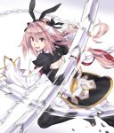1boy absurdres alternate_legwear astolfo_(fate) astolfo_(saber)_(fate) black_bow black_gloves black_legwear black_neckwear black_ribbon bow fang fate/grand_order fate_(series) faulds gloves hair_intakes highres juliet_sleeves layered_skirt long_hair long_sleeves looking_at_viewer low_twintails mizuumi_(bb) multicolored_hair otoko_no_ko pink_hair puffy_sleeves ribbon skin_fang streaked_hair sword twintails violet_eyes weapon whip_sword white_hair wing_collar