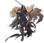 blonde_hair boots dual_wielding fighting_stance granblue_fantasy hat hat_removed headwear_removed holding long_hair lucius_(granblue_fantasy) minaba_hideo official_art orange_eyes sword tattered_cape weapon