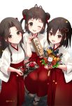 3girls ;d brown_eyes brown_hair double_bun grin hair_intakes hakama half_updo highres holding japanese_clothes jintsuu_(kantai_collection) kantai_collection koruri long_hair miko multiple_girls naka_(kantai_collection) omikuji one_eye_closed open_mouth red_hakama sendai_(kantai_collection) short_hair smile tabi twitter_username two_side_up white_legwear zouri