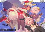 1boy 2girls animal_ears ass astolfo_(fate) astolfo_(saber)_(fate) bangs black_bow black_dress black_gloves black_legwear black_neckwear black_ribbon bloomers blue_background blush bow bowtie buttons capelet closed_mouth dark_skin dress earrings facepaint facial_mark fang fate/grand_order fate_(series) fur-trimmed_dress fur_trim gloves grey_legwear hair_between_eyes hair_bow hair_intakes hair_ornament hair_over_one_eye hair_ribbon hat highres hoop_earrings jackal_ears jewelry lavender_hair layered_skirt long_hair long_sleeves looking_at_viewer low-tied_long_hair low_twintails mash_kyrielight merry_christmas multicolored_hair multiple_girls nitocris_(fate/grand_order) open_mouth otoko_no_ko pantyhose pink_hair puffy_short_sleeves puffy_sleeves purple_dress purple_hair purple_legwear red_capelet red_dress red_footwear red_headwear redrop ribbed_legwear ribbon santa_costume santa_hat short_hair short_sleeves sidelocks skirt smile sparkle star star_hair_ornament streaked_hair thigh-highs twintails underwear violet_eyes white_hair white_skirt wing_collar