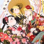 3girls :o animal apple bangs black_eyes black_hair blonde_hair blue_eyes blush bow braid braided_bun brown_eyes candy caramel double_bun ear_piercing earrings eyebrows_visible_through_hair flower food fruit fullmetal_alchemist gloves green_bow hair_between_eyes hair_bun hair_flower hair_ornament happy holding holding_food holding_fruit holding_umbrella japanese_clothes jewelry long_hair long_sleeves looking_at_another looking_to_the_side may_chang multiple_girls open_mouth oriental_umbrella p0ckylo panda piercing pink_flower red_flower riza_hawkeye smile umbrella white_gloves winry_rockbell xiao-mei