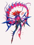 1boy character_name eternatus gen_8_pokemon grey_background harurie highres legendary_pokemon male_focus open_mouth personification pokemon pokemon_(creature) simple_background solo spikes spiky_hair tail