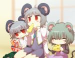 3girls :t animal_ears blush_stickers cheese chopsticks closed_eyes cookie_(touhou) eating fake_nyon_(cookie) food grey_hair highres instant_udon kitsune_udon kofji_(cookie) mouse_ears multiple_girls namatama_(7lemo_can) nazrin nyon_(cookie) red_eyes sitting touhou udon