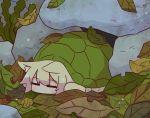 1girl animal_ear_fluff animal_ears animalization blonde_hair closed_eyes fox_ears kemomimi-chan_(naga_u) leaf naga_u original rock sleeping solo turtle turtle_shell