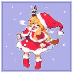1girl :d bangs blue_background blush_stickers boots capelet christmas closed_eyes commentary_request full_body fur-trimmed_boots fur_trim hat horns ibuki_suika kumamoto_(bbtonhk2) long_hair lowres open_mouth orange_hair pixel_art red_footwear red_headwear santa_costume santa_hat smile solo sparkle touhou