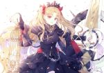 1girl bangs black_dress blonde_hair bow breasts cage chain commentary_request dress earrings ereshkigal_(fate/grand_order) eyebrows_visible_through_hair fate/grand_order fate_(series) fingernails floating_hair glint hair_bow holding holding_weapon jewelry light_rays long_hair long_sleeves looking_at_viewer meslamtaea_(weapon) nail_polish open_mouth outstretched_arms parted_bangs petals red_bow red_eyes scarf skull smile solo spread_arms tiara two_side_up very_long_hair weapon white_background yue_natsuki