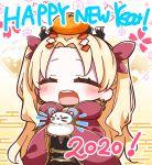 1girl 2020 :d ^_^ bangs blonde_hair blush cloak closed_eyes commentary_request earrings egasumi ereshkigal_(fate/grand_order) eyebrows_visible_through_hair facing_viewer fate/grand_order fate_(series) floral_background food food_on_head fruit hair_ribbon happy_new_year highres holding hood hood_down hooded_cloak infinity jako_(jakoo21) jewelry long_hair mandarin_orange new_year object_on_head open_mouth parted_bangs red_cloak red_ribbon ribbon round_teeth smile solo teeth tiara two_side_up upper_teeth very_long_hair