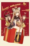 1girl amco animal_ears bangs black_dress black_legwear brown_eyes commentary_request dress eyebrows_visible_through_hair hair_ribbon highres kneehighs looking_at_viewer mouse mouse_ears mouse_tail new_year original red_ribbon ribbon short_sleeves sitting solo tail tail_ribbon
