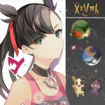 1girl bangs bare_shoulders black_choker black_hair breasts choker closed_mouth crystal dusk_ball frown gen_8_pokemon green_eyes jacket long_hair looking_at_viewer mary_(pokemon) morpeko o-ring pointy_hair poke_ball poke_ball_theme pokemon pokemon_(creature) pokemon_(game) pokemon_swsh red_ribbon ribbon sleeveless sparkle upper_body yuhi_(hssh_6)