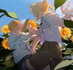 2boys ahoge alphonse_elric armor blonde_hair blue_shirt blue_sky brothers brown_shorts closed_eyes collared_shirt edward_elric flower from_behind fullmetal_alchemist holding holding_water_gun laughing long_hair male_focus multiple_boys one_eye_closed open_mouth p0ckylo ponytail shirt short_sleeves shorts siblings sidelocks sky smile sunflower teeth upper_body water water_gun white_shirt yellow_eyes yellow_flower