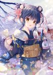 1girl animal_ears blue_hair blue_kimono blurry blurry_background blush chinese_zodiac commentary_request double_bun eyebrows_visible_through_hair floral_print flower fur_trim hair_between_eyes hair_flower hair_ornament hair_ribbon highres holding holding_paper holding_pouch japanese_clothes kimono looking_at_viewer mouse_ears obi omikuji open_mouth orange_eyes original outdoors paper pouch ribbon sash short_hair sidelocks smile snow solo sousouman year_of_the_rat