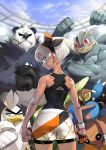 1girl absurdres bodysuit cracking_knuckles crossed_arms dark_skin from_behind gen_1_pokemon gen_2_pokemon gen_6_pokemon gen_8_pokemon gloves grey_eyes grey_hair hairband highres hitmontop looking_back machamp pangoro pokemon pokemon_(game) pokemon_swsh saitou_(pokemon) shorts single_glove sirfetch'd yayoi_fmfm