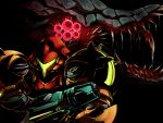 1girl black_background compound_eyes glowing glowing_eyes helmet looking_at_another looking_away marupon metroid power_suit queen_metroid saliva samus_aran sharp_teeth teeth tongue