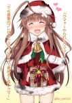 1girl ahoge bandages bangs bell blush box brown_hair burnt_clothes christmas closed_eyes dress eyebrows_visible_through_hair fang fur_trim gift gift_box gloves hat heart huge_ahoge kantai_collection ko_yu kuma_(kantai_collection) long_hair long_sleeves open_mouth red_dress red_gloves santa_costume santa_hat simple_background solo thigh-highs translation_request twitter_username