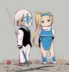 1boy 1girl arm_behind_back asaya_minoru black_gloves black_vest blonde_hair blue_dress blue_eyes blue_hairband blue_neckwear brown_footwear closed_mouth collared_shirt colored_eyelashes copyright_request dark_skin dress elbow_gloves fingerless_gloves gloves grey_background hair_over_one_eye hairband holding long_hair long_sleeves looking_at_viewer necktie pants puffy_short_sleeves puffy_sleeves shirt shoes short_sleeves sleeveless sleeveless_dress standing turtleneck twitter_username very_long_hair vest white_footwear white_hair white_pants white_shirt