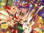 bang_dream! blush christmas dress long_hair ponytail purple_hair red_eyes seta_kaoru smile