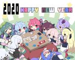 2020 6+girls :d :q ^_^ ahoge antenna_hair bag_of_chips bangs black_headwear black_jacket blonde_hair blue_eyes blue_hair blue_ribbon blue_sleeves braid brown_eyes brown_hair brown_sleeves card chibi chips closed_eyes closed_mouth club_(shape) commentary_request crossover cup detached_sleeves diamond_(shape) dress drooling eyebrows_visible_through_hair fang flying_sweatdrops food gen_8_pokemon glasses green_eyes green_hair green_hairband grey_dress grey_kimono hair_between_eyes hair_ornament hair_ribbon hairband happy_new_year hat hat_removed headphones headwear_removed heart highres holding holding_card ia_(vocaloid) jacket japanese_clothes kimono kizuna_akari kotatsu kotonoha_akane kotonoha_aoi long_sleeves low_twintails lying milkpanda mouth_drool multiple_girls muneate new_year obi on_back open_mouth otomachi_una parted_lips pink_hair playing_card pokemon pokemon_(creature) pokemon_(game) pokemon_swsh potato_chips pringles puffy_short_sleeves puffy_sleeves purple_hair red-framed_eyewear red_eyes red_legwear red_ribbon red_skirt redhead ribbon sash semi-rimless_eyewear sheep shirt short_sleeves silver_hair sitting skirt sleeping sleeves_past_wrists smile spade_(shape) sparkle standing star table teacup thigh-highs tongue tongue_out touhoku_kiritan touhoku_zunko tsurumaki_maki twin_braids twintails under-rim_eyewear under_kotatsu under_table v-shaped_eyebrows violet_eyes vocaloid voiceroid white_shirt wide_sleeves wooloo yuzuki_yukari zzz