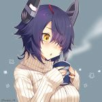 1girl alternate_costume artist_name blue_background blush breasts cup eyebrows_visible_through_hair eyepatch hair_over_one_eye holding holding_cup kantai_collection kotobuki_(momoko_factory) large_breasts long_sleeves looking_away messy_hair parted_lips purple_hair short_hair simple_background sleeves_past_wrists solo steam sweater tenryuu_(kantai_collection) triangle_mouth turtleneck turtleneck_sweater twitter_username upper_body white_sweater