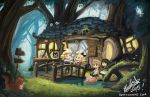 2girls 3boys agnes_oblige bettykwong bird black_hair blonde_hair bravely_default:_flying_fairy bravely_default_(series) brown_hair chibi edea_lee forest fox house multiple_boys multiple_girls nature pig ringabel sign stream tea tiz_oria tree white_hair yulyana