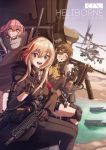 3girls ah-1z_viper ammunition ammunition_belt ar-15 artist_request bandana city cityscape eyepatch girls_frontline gloves gun highres knee_pads m16a1_(girls_frontline) m4_sopmod_ii m4_sopmod_ii_(girls_frontline) machine_gun multiple_girls pose rifle river scope ship smile st_ar-15_(girls_frontline) suppressor v watercraft waving weapon