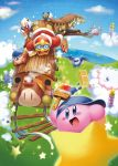 bandana bandana_waddle_dee baseball_cap bat_wings blue_eyes blue_sky clouds coat flying ground_vehicle hat instrument king_dedede kirby kirby_(series) kracko magolor marx mask meta_knight mountain paint rike_(pixiv) scared sky smile star tambourine taranza train tree warp_star wings yellow_eyes