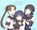 3girls akatsuki_(kantai_collection) anchor_symbol anniversary ayanami_(kantai_collection) black_hair black_sailor_collar black_skirt blue_background blue_eyes brown_eyes brown_hair copyright_name dated forehead fubuki_(kantai_collection) hat hat_removed headwear_removed highres kantai_collection long_hair looking_at_viewer low_ponytail multiple_girls nakaaki_masashi open_mouth pleated_skirt ponytail red_neckwear remodel_(kantai_collection) sailor_collar school_uniform serafuku short_ponytail side_ponytail sidelocks simple_background skirt smile twitter_username upper_body