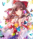 1girl bangs bow brown_hair bug butterfly closed_mouth cravat detached_sleeves eyebrows_visible_through_hair frilled_bow frilled_shirt_collar frilled_sleeves frills glowing_butterfly gohei hair_bow hair_tubes hakurei_reimu half_updo holding insect kazu_(muchuukai) long_hair looking_at_viewer motion_blur nontraditional_miko red_bow red_eyes ribbon-trimmed_bow ribbon-trimmed_sleeves ribbon_trim shide sidelocks simple_background solo too_many touhou upper_body white_background wide_sleeves yellow_neckwear