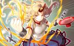 1girl alcohol artist_request blonde_hair blue_skirt breasts chain clenched_hand cowboy_shot cuffs cup emphasis_lines floating_hair gradient gradient_background grey_background hand_up holding holding_cup horn hoshiguma_yuugi long_hair looking_at_viewer medium_breasts pointy_ears puffy_short_sleeves puffy_sleeves red_eyes sakazuki sake shackles shirt short_sleeves skirt smile solo star touhou touhou_cannonball v-shaped_eyebrows white_shirt