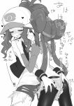 2girls ass_grab baseball_cap blush cutoffs denim denim_shorts double_bun exposed_pocket grabbing_another's_ass groping hat high_ponytail kyuusui_gakari long_hair mei_(pokemon) monochrome multiple_girls onomatopoeia pantyhose pokemon pokemon_(game) pokemon_bw pokemon_bw2 ponytail raglan_sleeves shirt short_shorts shorts sleeveless sleeveless_shirt sweat tank_top touko_(pokemon) translation_request twintails very_long_hair visor_cap white_background wristband yuri