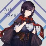 1girl absurdres alternate_costume ark_royal_(azur_lane) ark_royal_(new_year's_protectress)_(azur_lane) azur_lane black_hair blue_eyes breasts character_name eyebrows_visible_through_hair gloves heart heart_hands highres japanese_clothes large_breasts one_eye_closed scarf shinidei short_hair solo