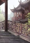 architecture building day east_asian_architecture highres missile228 no_humans original outdoors pagoda railing scenery stairs stone_stairs tree
