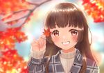 1girl absurdres autumn_leaves blurry blurry_background brown_hair day hand_up highres leaf long_hair looking_at_viewer maple_leaf miiki1hima original outdoors parted_lips red_eyes smile solo sweater upper_body white_sweater